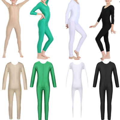 Girls Long Sleeve Ballet Dance Gymnastics Kids Catsuit Bodysuits Unitard Costume