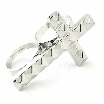 12pcs Antique Gold Silver Cross Ring Double Adjustable Personalized Alloy Finger