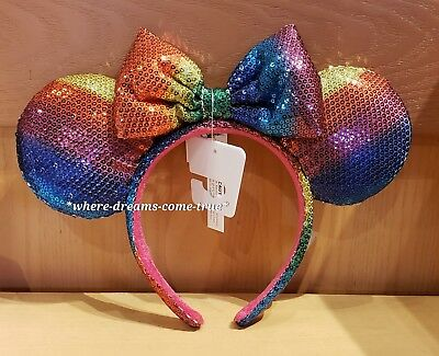 Disney Parks Gay Days Pride Minnie Mouse Sequin Rainbow Ears Headband Adult- NEW