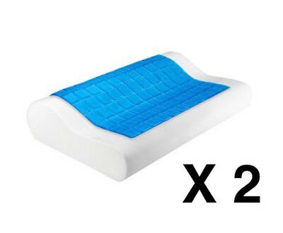 Pillow Cool Gel x2 Supreme High Density Memory Foam Contour Home Hotel Top Cover