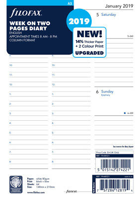 Filofax Week on Two Pages with Appointments English 2019 A5 Size Calendar Refill
