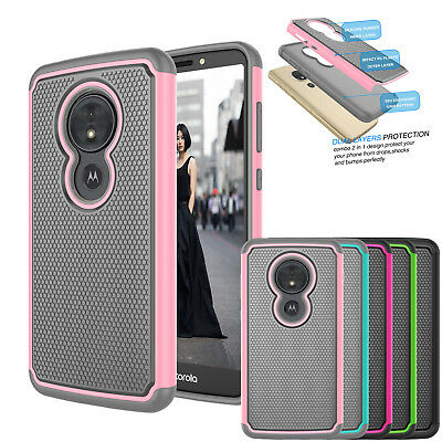 For Motorola Moto G6 Play / Forge G Play 6th Gen Hybrid Dual Layer Rubber Cases