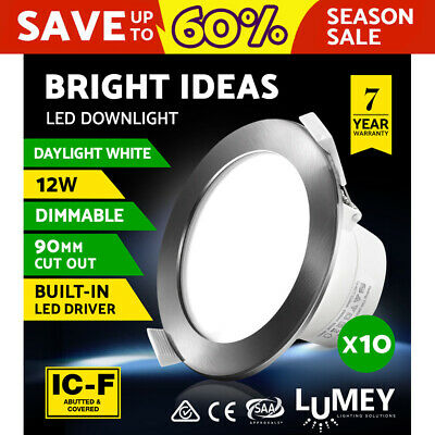 10 x LUMEY LED Downlight Kit Dimmable Ceiling Light Bathroom Daylight White 12W