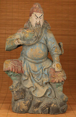 Big Chinese Wood Hand Carved Mars Guangong antique Statue Figure