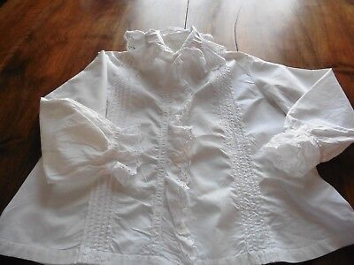 Ancien Chemisier Ou Camisole Pur Coton Broderie Anglaise