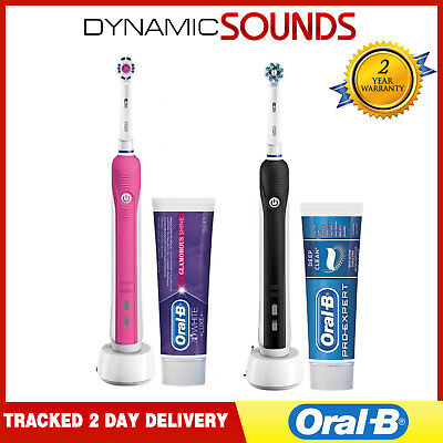 2 x ORAL B PRO 650 Electric Toothbrush 3d Action + Toothpaste - Pink & Black