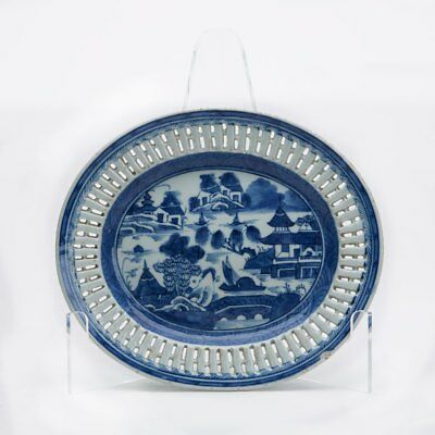Antique Chinese Blue & White Watery Landscape Stand 19Th C.