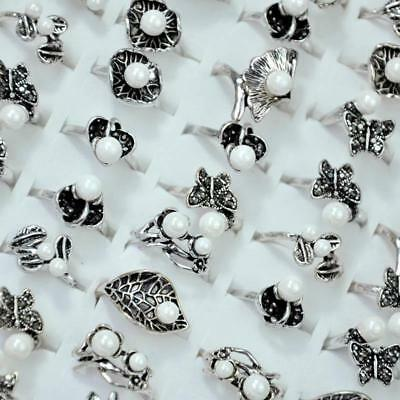 50Pcs Vintage Bead Ancient Silver Plated Rings Women Rings Wholesale Jewelry CFP
