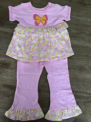 2278a8bc78b8 Girls 18 Months Boutique BABY LULU Ruffle Butterfly 2pc Thora Outfit NEW  Pink