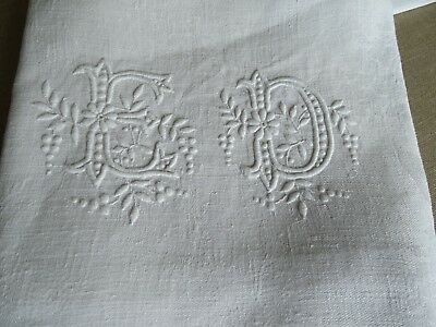 12 Antique French Linen Damask Napkins - Beautiful ED Monogram