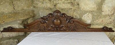 "50.5"" Antique French Hand Carved Pediment Architectural Crown Oak Wood Crest"
