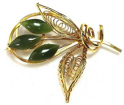 Vintage Jewelry Brooch Pin Gold Tone Flower Leaf  Green Beautiful Gemstone # 901