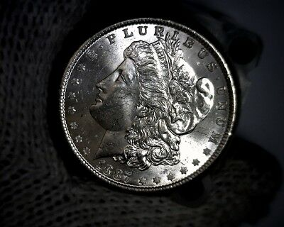 1887-p Blast White Unc Morgan Silver Dollar from a fresh Roll Will Grade Out