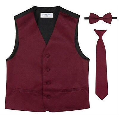 Little Boys Burgundy Vest Bow-tie Tie Special Occasion 3 Pcs Set 2-6