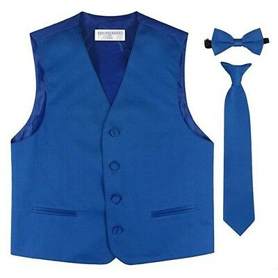 Little Boys Royal Blue Vest Bow-tie Tie Special Occasion 3 Pcs Set 2-6