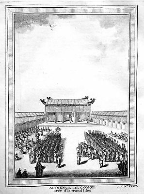 ca 1750 Audience Audienz König king China Ansicht view Kupferstich antique print