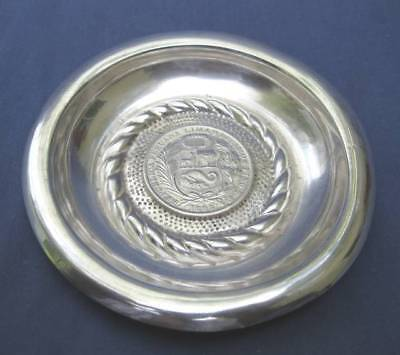 Antique Kohler Peru One Sol Coin Peruvian Sterling Silver Bowl Dish 1895 93 Gram