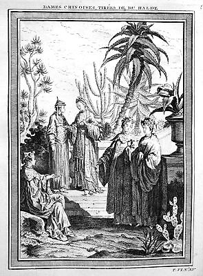 1750 China Damen women Trachten costumes Ansicht view Kupferstich antique print