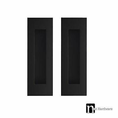 2 Matt Black Flush Pulls (150mm x 50mm) - Sliding Door Handles