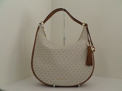 42a1629f95 Nwt Authentic Michael Kors Lydia Mk Signature Large Hobo Bag- 298-Vanilla
