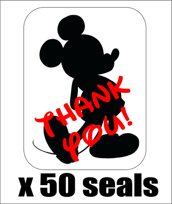"50 Mickey Mouse Silhouette Thank You Envelope Seals / Labels / Stickers 1""x1.5"""