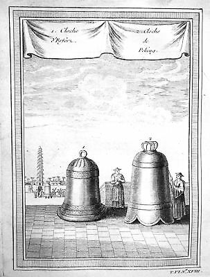 ca. 1750 Peking Beijing Glocke bell cloche China Kupferstich antique print