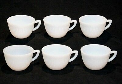 Vintage Lot of 6 Six Anchor Hocking Fire King White Jane Ray Demitasse Cups