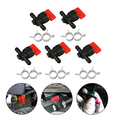 """5-pack 1/4"""" Inline Gas Fuel Shut Cut Off Valves 10 Clamps for Briggs & Stratton"""