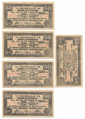Lot Of 5 Bohol 50 Cent Consecutive  Ser #'d  Phil Wwii Emergency Notes(Phil 149)