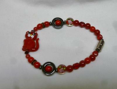 Cute Red Glass Bead & Magnets Bracelet With Adorable Red Cat Bead.