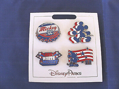 Disney Parks * RED WHITE BLUE MICKEY * New 4 Pin Themed Set on Card Trading Pins