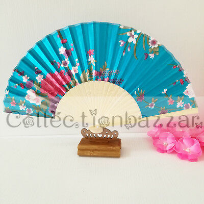 Sky Blue Chinese Bamboo Folding Silk Floral HAND FAN for Wedding Party Gift A