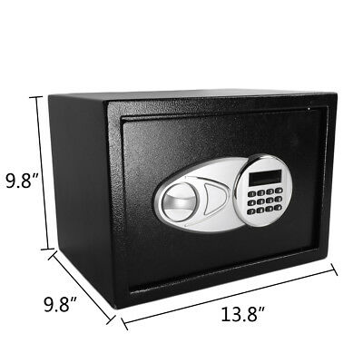 "13.8"" Security Home Digit Combination Lock 0.5 Cubic Feet Steel Safe Box Black"