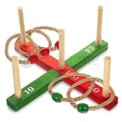 Classic Quoits Ring Toss Rope Pegs Hoopla Wooden Outdoor Family Garden Fun Game