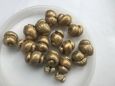 Vintage Rare Chunky Antique Gold Painted Snail Baroque Mix Glass Bead Lot
