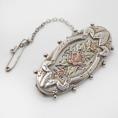 Aesthetic Period Sterling Silver 1887 Victorian Hallmarked Floral Brooch
