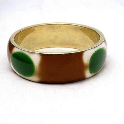 Vtg Brown White Green Circles Enamel Brass Metal Bangle Bracelet