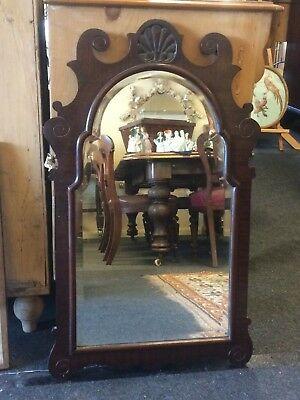 Antique 19th Century Carved Victorian Mahogany Bevelled Edged Decorative Mirror