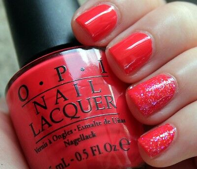 OPI ON COLLINS AVE Bright Coral Orange Red Nail Polish Lacquer .5 oz ...