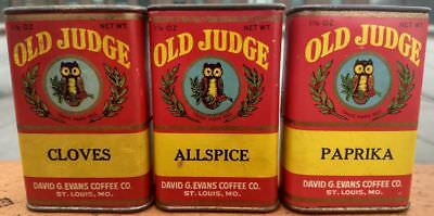 THREE Vintage Spice Tins Old Judge Paprika Cloves Allspice St. Louis Owl