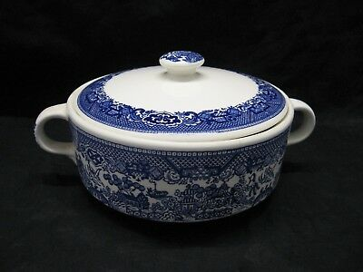 Blue Willow Transferware Covered Vegetable Bowl Blue and White Japan