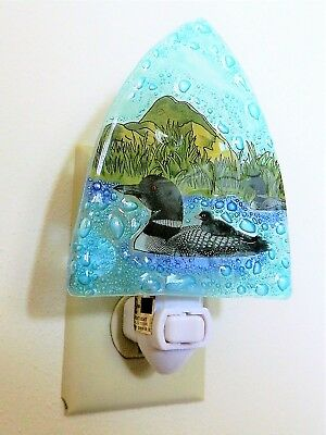Loon Bird & Baby Chick  on Lake Fused Art Glass Night Light Lodge Made Ecuador