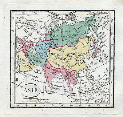 ca.1800 Asia Asien China Türkiye Persia Arabia Japan India Karte map Kupferstich
