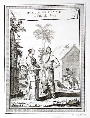 ca. 1750 Java Indonesia Mann Frau Trachten costumes Kupferstich antique print