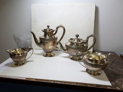 Antique Victorian Sterling silver four piece tea set 87.58 Troy Oz. very Ornate