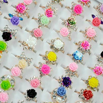 15Pcs Women Color Flowers Rhinestones Golden alloy Rings Wholesale Jewelry CFP