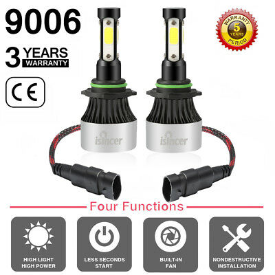 Pair Cree 4 Sides LED Headlight Kit 9006 HB4 9012 1200W 6000K 180000LM Bulbs EP