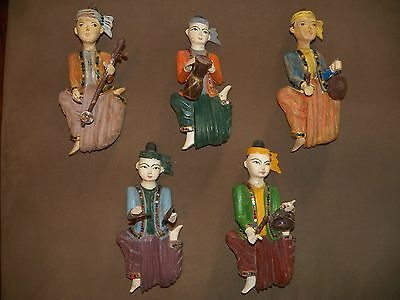 5 VINTAGE THAILAND Musician Wall Hanging Statues collection Very Detailed!
