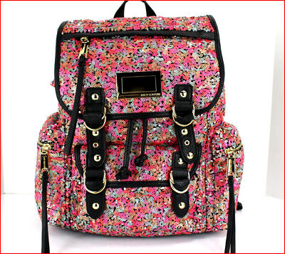 Juicy Couture Designer PINK Orange Silver SEQUINS Large Backpack Purse Tote =NEW