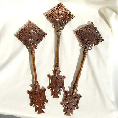 3 X Rare Ethiopian Blessing Copper Hand Cross Coptic Orthodox Church Religious